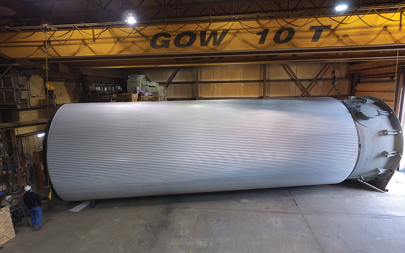 Insulated 60,000 liter-tank for a paper mill that was fabricated in the GOW shop.