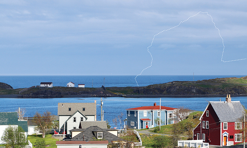 Photo of a seaside community and a drawn outline of where an iceberg should be.